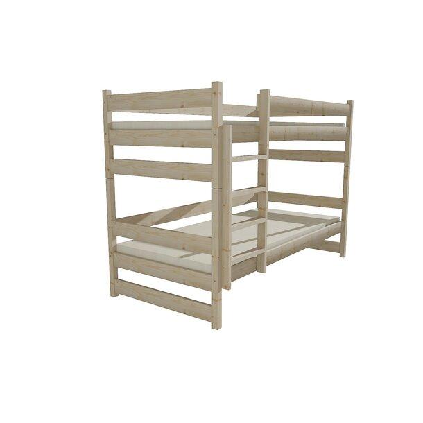 SKLADEM: Dětská patrová postel z MASIVU 180x80cm bez šuplíku - PP014 - bílá