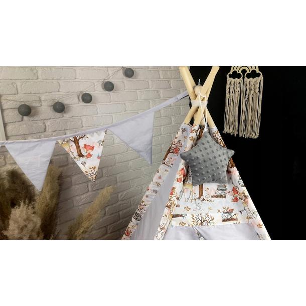 Dětský stan TEEPEE (TÝPÍ) LUXURY s doplňky - LES - šedý