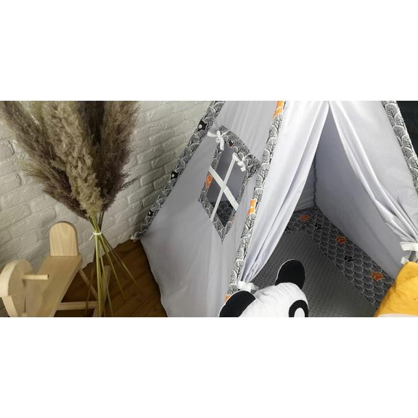 Dětský stan TEEPEE (TÝPÍ) LUXURY s doplňky - ZVÍŘECÍ PARTIČKA - šedý