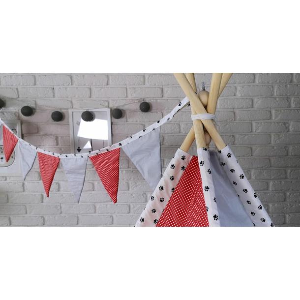 Dětský stan TEEPEE (TÝPÍ) LUXURY s doplňky - TLAPKOVÁ PATROLA - šedo/červený