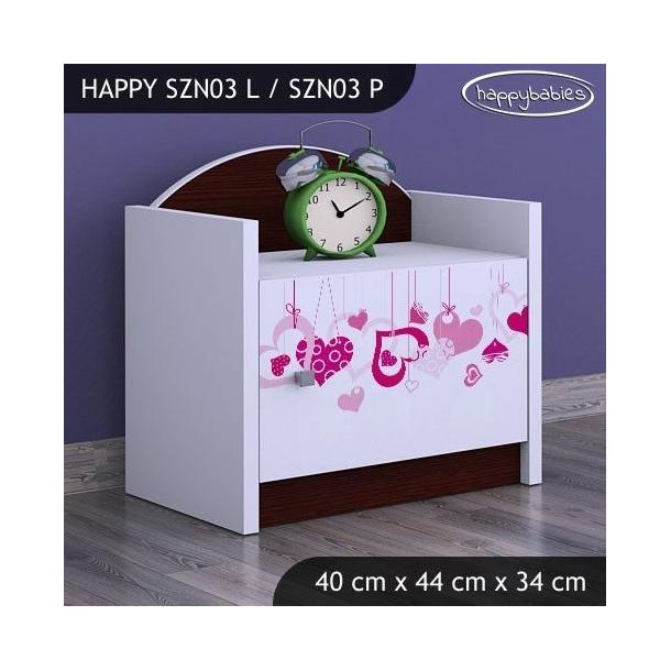 SKLADEM: Dětský noční stolek FALL IN LOVE - TYP 3 - růžová