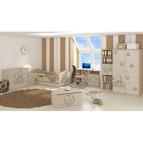 SKLADEM: Dětská postel s výřezem KOČIČKA bez šuplíku  - přírodní 160x80 cm