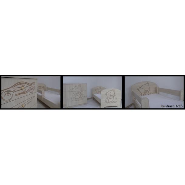 SKLADEM: Dětská postel s výřezem KOČIČKA se šuplíkem - růžová 140x70 cm + matrace kokos/molitan