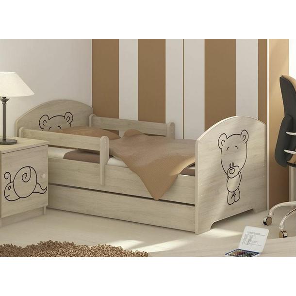 SKLADEM: Dětská postel s výřezem MÉĎA se šuplíkem - přírodní 140x70 cm + MATRACE