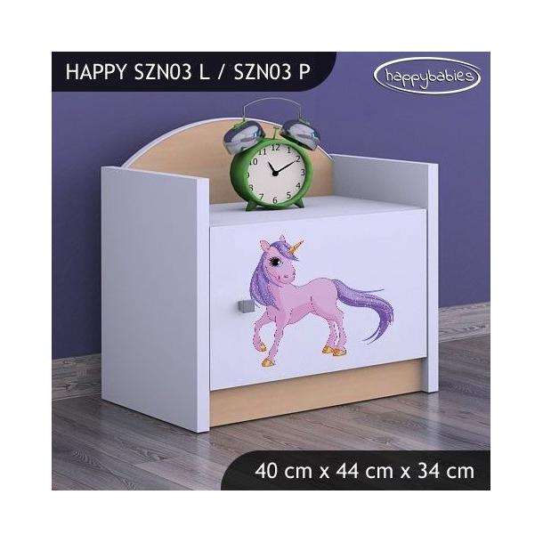 SKLADEM: Dětský noční stolek JEDNOROŽEC - TYP 3 - růžový