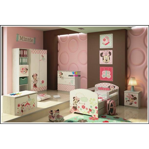 SKLADEM: Dětská postel Disney - MYŠKA MINNIE 160x80 cm - 1x dlouhá + 1x krátká bariérka