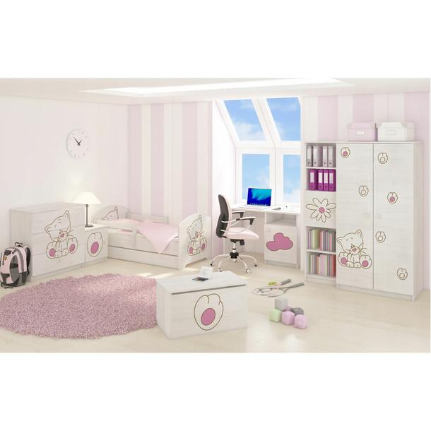SKLADEM: Dětská postel s výřezem KOČIČKA bez šuplíku - růžová 140x70 cm + matrace ZDARMA