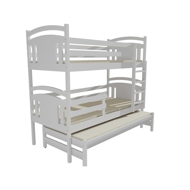 Dětská patrová postel s přistýlkou z MASIVU 180x80cm bez šuplíku - PPV006