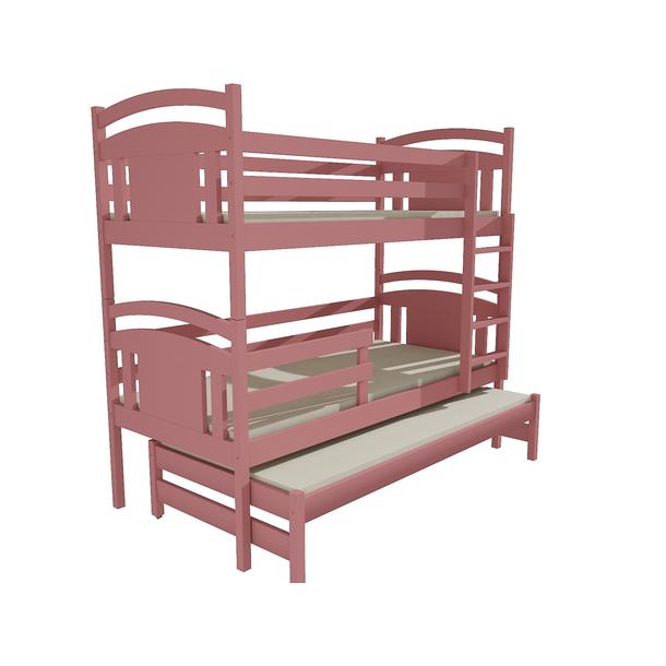 Dětská patrová postel s přistýlkou z MASIVU 200x80cm SE ŠUPLÍKY - PPV006