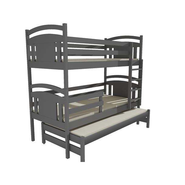Dětská patrová postel s přistýlkou z MASIVU 200x90cm bez šuplíku - PPV006