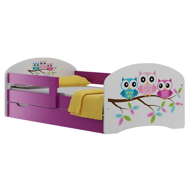 SKLADEM: Dětská postel se šuplíky BAREVNÉ SOVY 180x90 cm - bílá + bílá