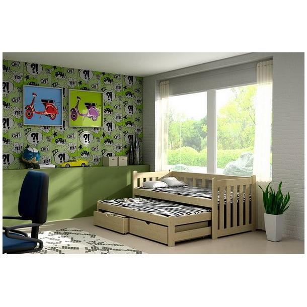 Dětská postel s výsuvnou přistýlkou z MASIVU se šuplíky - DPV002