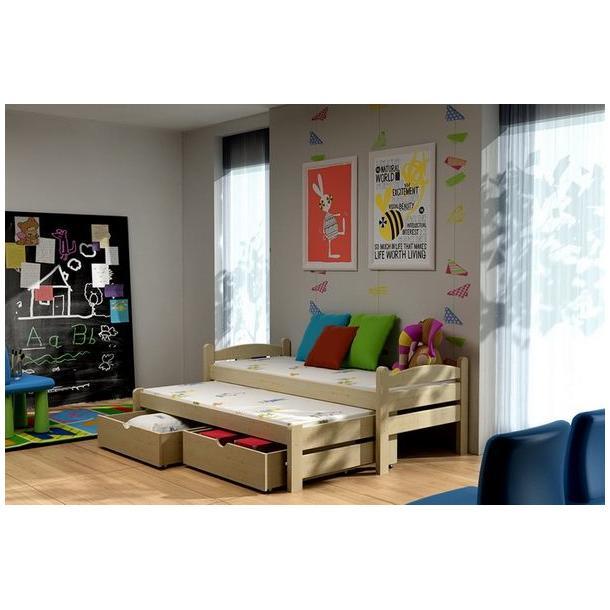 Dětská postel s výsuvnou přistýlkou z MASIVU se šuplíky - DPV010
