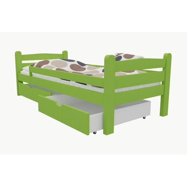 SKLADEM: Dětská postel z MASIVU 200x90cm bez šuplíku - M01 - zelená