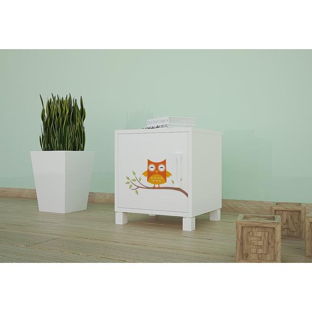 SKLADEM: Dětský noční stolek BAREVNÉ SOVIČKY - TYP 3 - bílý - otevírání vlevo