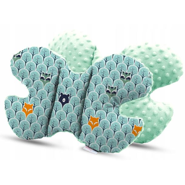 Dětská deka do kočárku s polštářkem a motýlkem - PREMIUM set 3v1 - Skandinávský les s mátovou minky