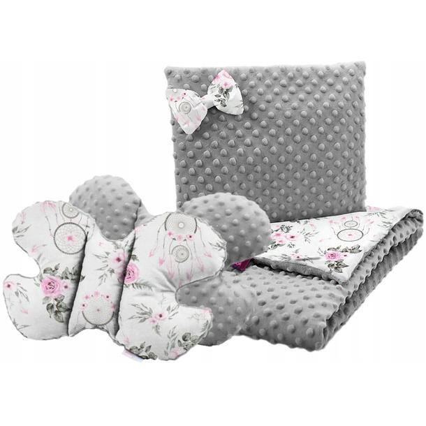 Dětská deka do kočárku s polštářkem a motýlkem - PREMIUM set 3v1 - Lapače snů a květy s šedou minky