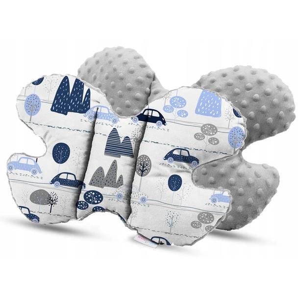 Dětská deka do kočárku s polštářkem a motýlkem - PREMIUM set 3v1 - Retro autíčka s šedou minky