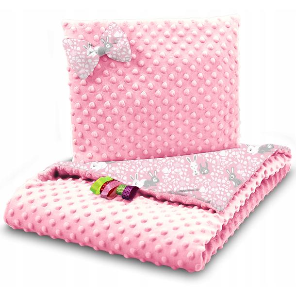 Dětská deka do kočárku s polštářkem a motýlkem - PREMIUM set 3v1 - Růžoví králíčci s růžovou minky