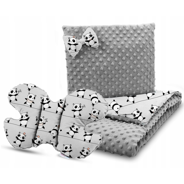 Dětská deka do kočárku s polštářkem a motýlkem - PREMIUM set 3v1 - Veselé pandy s šedou minky