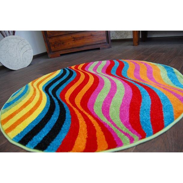 Kulatý designový koberec MALBA F1562 modrý