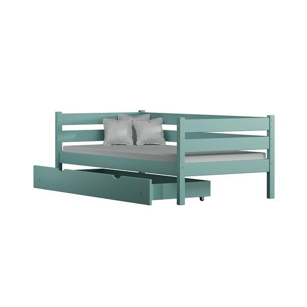 Dětská postel z masivu KARAS 2 - 180x90 cm -  šedá + odnímatelná zábrana