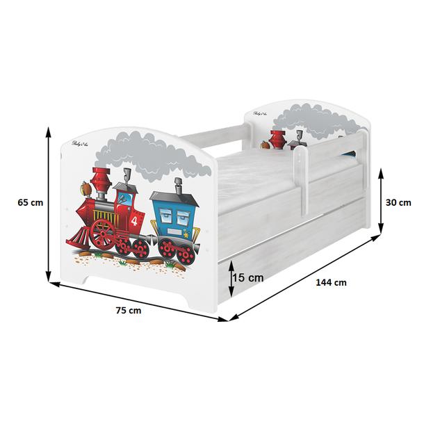 Dětská postel s výřezem KOČIČKA - přírodní 140x70 cm - dub sonoma + MATRACE