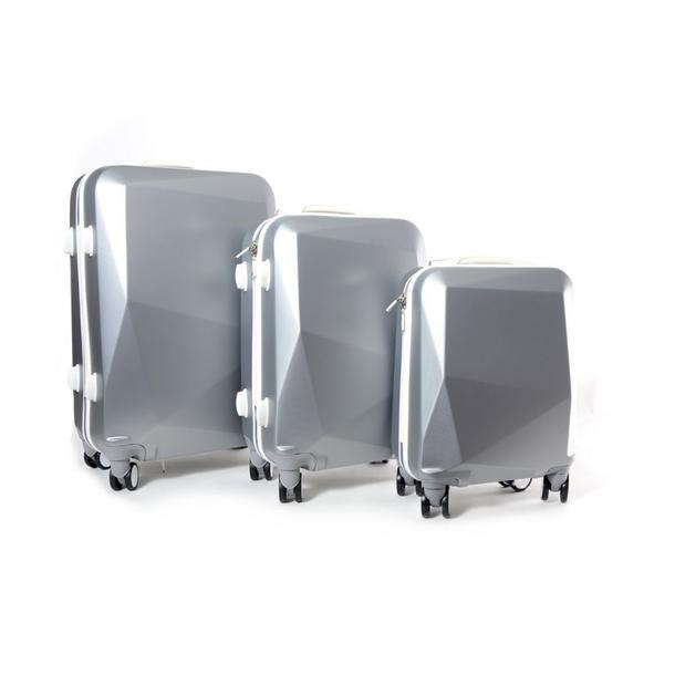Moderní cestovní kufry DIAMOND - šedé