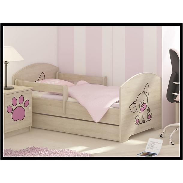 DĚTSKÉ POKOJE - sestava PEJSEK - růžová - postel