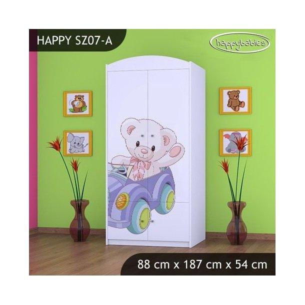 SKLADEM: Dětská skříň MEDVÍDEK V AUTĚ 2 - TYP 7B - bílá