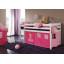 Dětská VYVÝŠENÁ postel DOMEČEK růžový - BÍLÁ