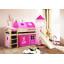 Dětská VYVÝŠENÁ postel se skluzavkou DOMEČEK růžový - PŘÍRODNÍ